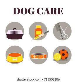 Flat Icons set : Dog Care Object