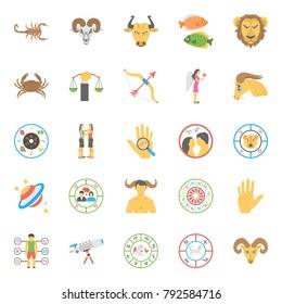 Flat Icons Set of Horoscope, Numerology and Astrology