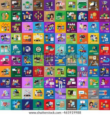 Flat Icons Set Isolated