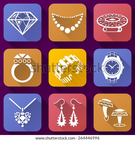 Flat Icons Set Jewelry Elements Collection Stock Vector Royalty