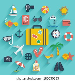 Flat icons set with long shadow effect of traveling on airplane, planning a summer vacation, tourism and journey objects and passenger luggage. Eps10