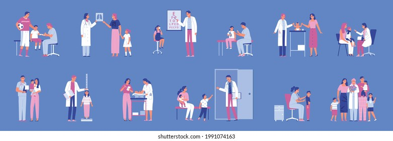 Flat icons set with male and female pediatricians doing medical examination of children and babies isolated on color background vector illustration