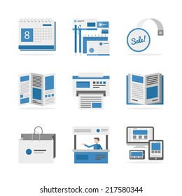 Flat icons set of marketing campaign development, creative product promotion, print advertising materials. Flat design style modern vector illustration concept. Isolated on white background.