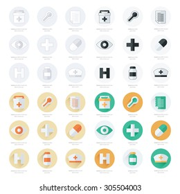 Flat icons set of medical tools set