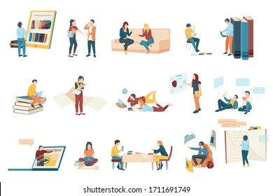 Flat icons set with modern students studying with books and different gadgets isolated vector illustration
