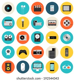 Flat icons set of multimedia and technology devices, sound instruments, audio and video items and objects. Modern design style vector symbol collection. Isolated on white background.