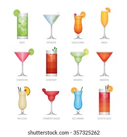 Flat icons set of popular alcohol cocktail. Flat design style, vector illustration.