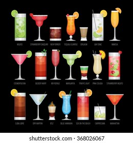 Flat icons set of popular alcohol cocktail on black background. Flat design style, vector illustration.