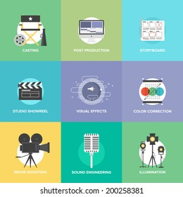 Flat icons set of professional film production, movie shooting, studio showreel, actor casting, storyboard writing, visual effects, post production. Flat design modern vector illustration concept.
