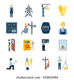 Flat icons set of repairmen electricians handymen figures and electric equipments isolated vector illustration