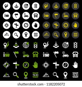 Flat icons Set of Route Vector Icons. Map with a Pin, Route map, Navigator, Direction and more Icons