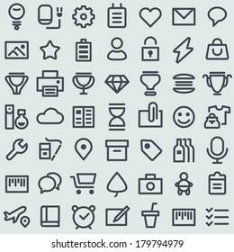 Flat icons set. Simple line icons pack for your design. Vector illustration.