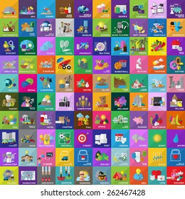 Flat Icons Set: Vector Illustration, Graphic Design. Collection Of Colorful Icons. For Web, Websites, Print, Presentation Templates, Promotional, Mobile Applications And Promotional Materials