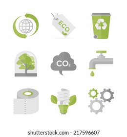 Flat icons set of waste recycling and eco material, ecology and nature conservation, green production and environment protection. Flat design style modern vector illustration concept.
