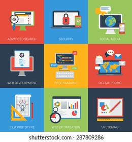 Flat icons set web app development window interface. Search results security social media digital promo program coding prototyping idea SEO optimization sketch. Vector infographics icon collection.