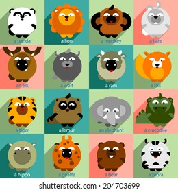 Flat Icons Set with Wild Animals, long shadow, vector