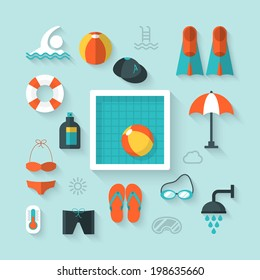 Flat icons for swimming pool activity