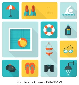 Flat icons for swimming pool activity with long shadow