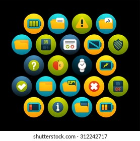 Flat icons vector set 10 - interface collection, for phone watch or tablet, isolated on black background