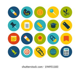 Flat icons vector set 2 - education collection