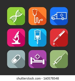 flat icons for web and mobile applications with medical items(flat design with long shadows)