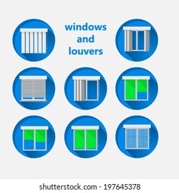 Flat icons for windows and louvers. Set of blue circle vector icons for windows with green curtains and white louvers.