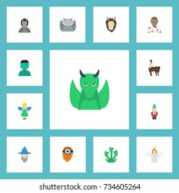 Flat Icons Wizard, Snake, Mythology And Other Vector Elements. Set Of Character Flat Icons Symbols Also Includes Man, Dragon, Gnome Objects.