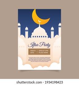 Flat iftar poster template. - Vector.