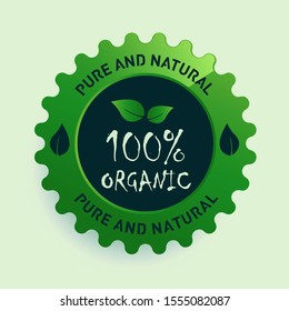 flat illustration with 100% organic food certified label