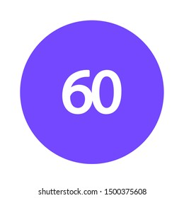 flat illustration of 60-degrees angles vector icon. rotate sign symbol