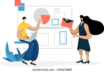 flat illustration Administration Management planning online business marketing, the concept of a man analyzing data on a laptop
