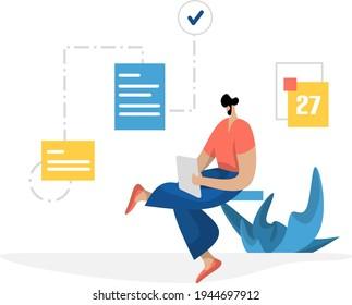 flat illustration Administration Management planning online business marketing, the concept of men making data documents on tablets