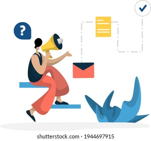 flat illustration Administration Management planning online business marketing, the concept of a man using a microphone