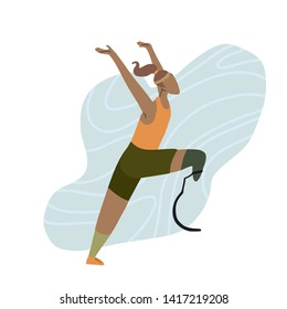 Flat illustration of african happy girl runner with prosthetic leg. Marathon runner at the finish. Stylized strong athletic woman. Sport for all. Vector art for card, article and your creativity