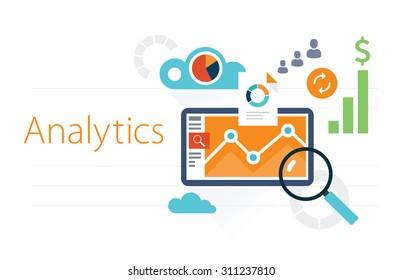 Flat illustration analytics on white background