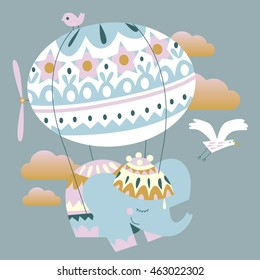 flat illustration of animals and balloons. Funny flying in the sky in the clouds. elephant