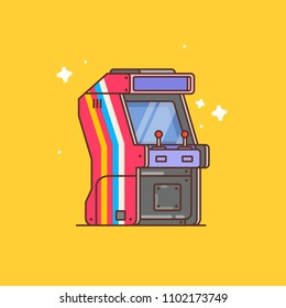 Flat illustration of arcade machine
