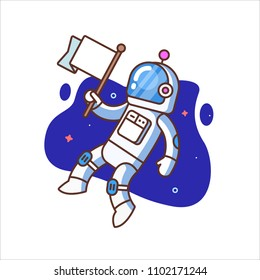 Flat illustration of astronaut on white background with flag in hand