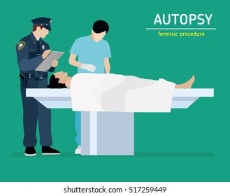 Flat illustration. The autopsy of the murder victim. Forensic procedure.
