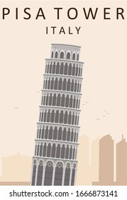 Flat Illustration. Awesome Leaning Tower of Pisa. Enjoy the travel. Around the world. Quality vector poster. Italy