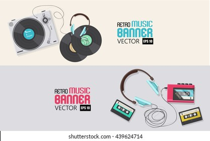 Flat illustration, Banner designs Top view of retro vinyl player and casette player with headphone,