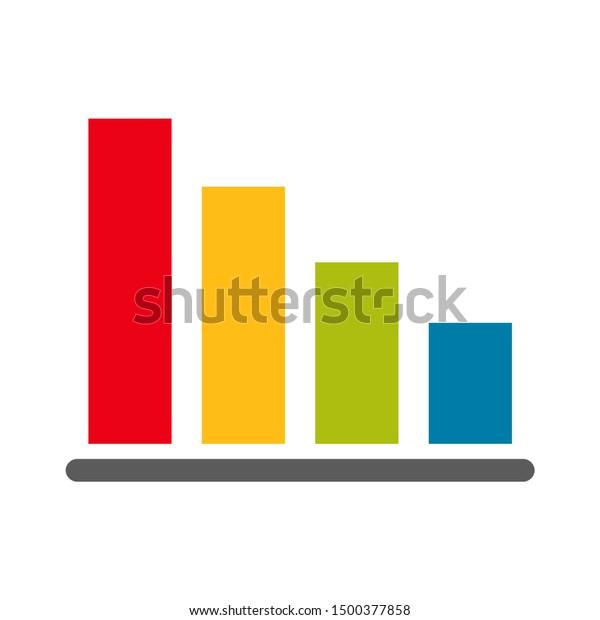 flat illustration of bar chart vector icon, graph sign symbol