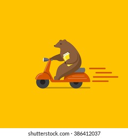 Flat illustration of bear driving a motorbike with jar of honey