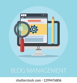 Flat illustration of Blog Management․ Modern Vector Icon. Blogging, Management, Online Blog. Content Management. Creative Writing