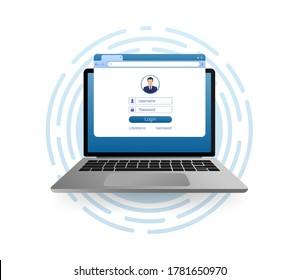 Flat illustration with blue user login laptop. Vector, flat design. Laptop vector icon illustration.