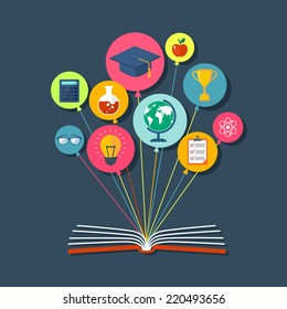 Flat illustration with book and icons. Eps10
