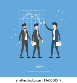 Flat illustration Business statistics down, with character and chart statistics