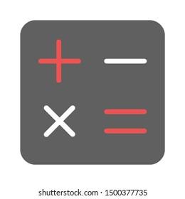 flat illustration of calculator vector icon, mathematics sign symbol