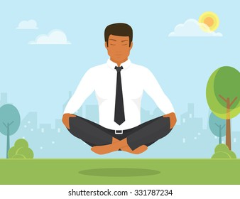 Flat illustration of calm tanned woman is doing yoga and meditation in the lotus position in the park.