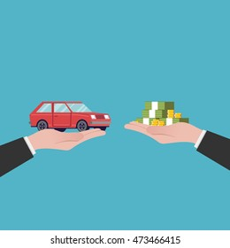 Flat illustration car sales. The transfer of money and the machine out of the hands. Red vehicle. Vector image in a cartoon style isolated on a blue background.
